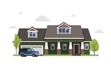 Color illustration with house on white background. 版權商用圖片 - 168052681