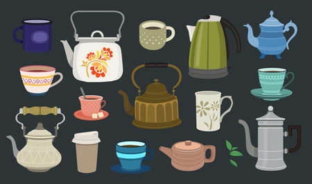 Set of color illustrations with teapots and cups on dark background.