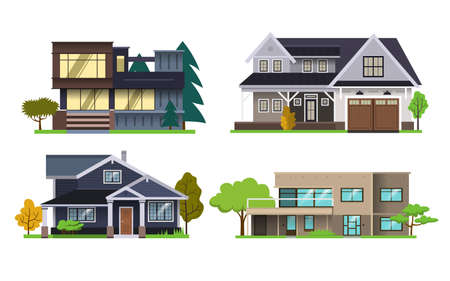 Set of color illustrations with houses on white background.