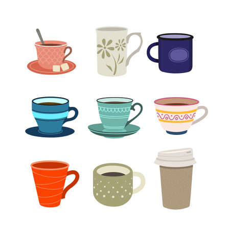 Set of color illustrations with cups on white background.