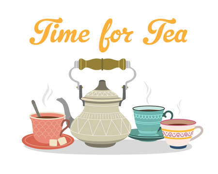 Time for tea. Color illustrations with teapots and cups. 版權商用圖片 - 168052688