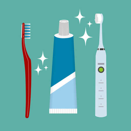 Teeth cleaning. Toothpaste and brush. Color vector object.
