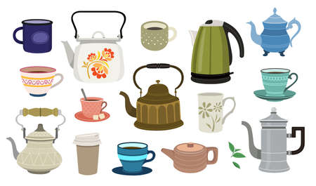 Set of color illustrations with teapots and cups on white background. 向量圖像