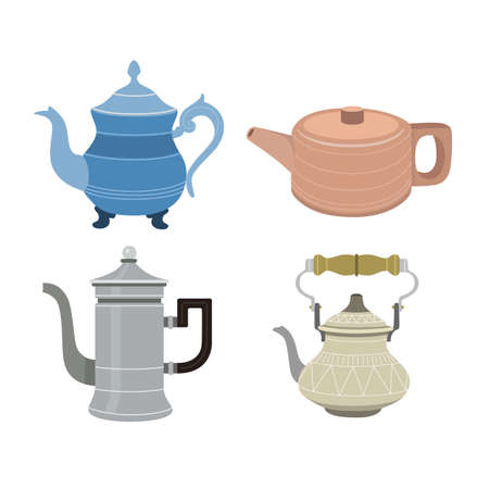 Set of color illustrations with teapots on white background.
