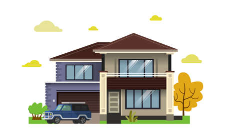 Color illustration with house on white background. 版權商用圖片 - 168052697