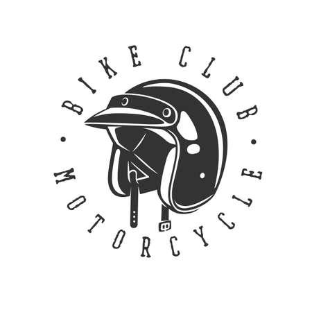 helmet vintage illustration. Racing motorcycle illustration, design elements. Black and white vector illustration.