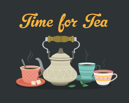 Time for tea. Color illustrations with teapots and cups.