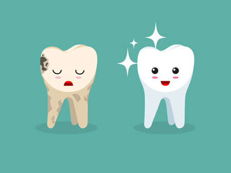 Vector tooth illustration. Color vector object.