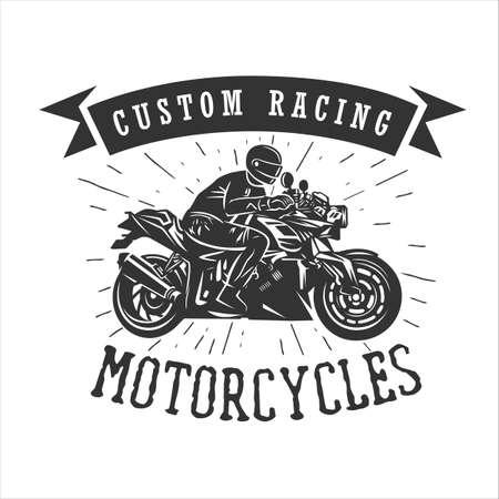Motorcycle, vintage illustration. Racing motorcycle illustration, design elements. Black and white vector illustration.