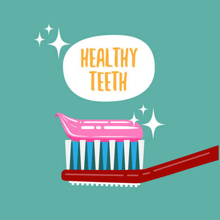 Healthy teeth. Teeth cleaning. Color vector illustration.