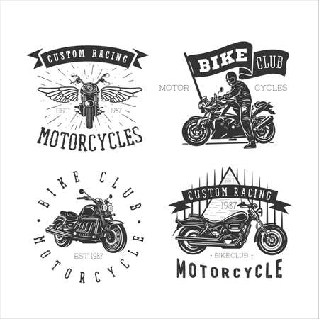 Motorcycle, vintage illustration. Black and white vector illustrations.