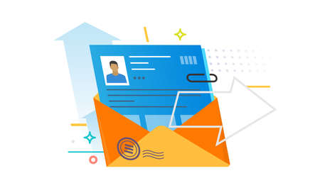 Illustration of a letter with a profile of a person. Color vector objects.