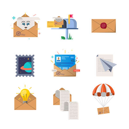 Set of color illustrations on letters and envelopes themes on white background. 向量圖像