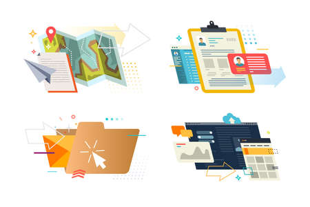 Set of colored illustrations on a white background on the topic of marketing. 向量圖像