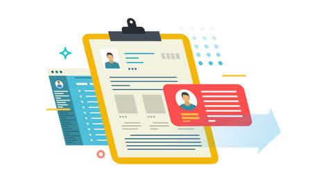 Person profile on different media. Color illustrations on white background.