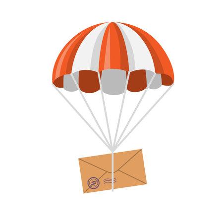 Letter descending on a parachute.