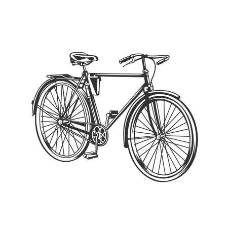 Vintage cycling illustration. Bike stylized symbol, vintage vector silhouette. 向量圖像