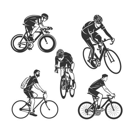 Cycling logotype. Cyclist stylized symbol. Black and white vector objects.