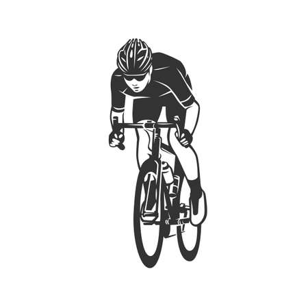 Cycling logotype. Cyclist race stylized symbol, outlined cyclist vector silhouette.
