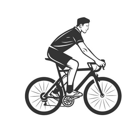 Cycling logotype. Cyclist stylized symbol, outlined cyclist vector silhouette.