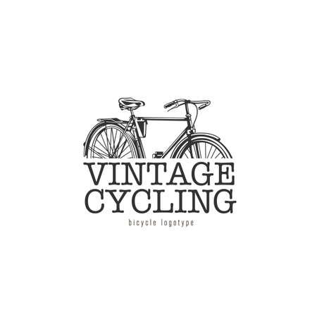 Vintage cycling logotype. Black and white logotypes on white background. 向量圖像
