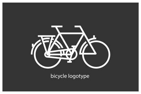Bicycle. Bike logo. White illustration on dark background. 向量圖像