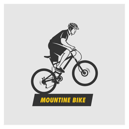 Mountain bike logo. Outlined cyclist vector silhouette. 向量圖像