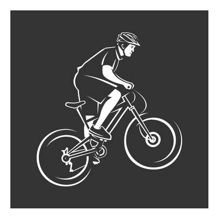 Cyclist. Bike illustration. Cyclist stylized symbol, outlined cyclist vector silhouette.