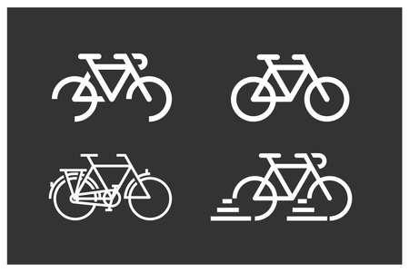 Bicycles logotypes set. White logotypes on dark background. 向量圖像