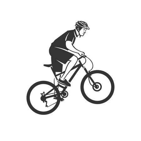 Cycling logotype. Cyclist stylized symbol. Black and white vector object. 向量圖像