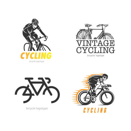 Set of logos on the theme of bicycles.