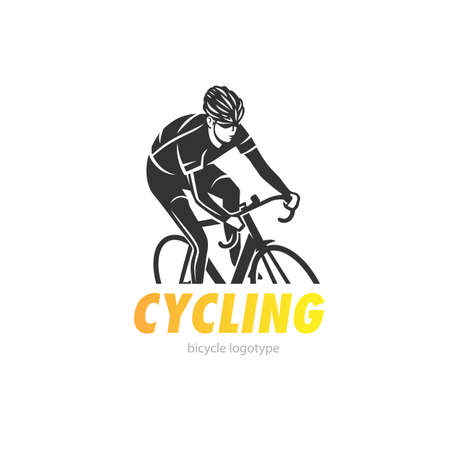 Cycling logotype. Cycling race stylized symbol, outlined cyclist vector silhouette. 向量圖像