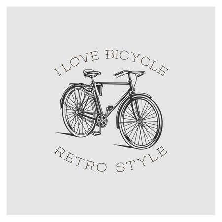 Bicycle. Retro style. White illustration on dark background.