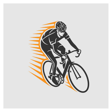 Cycling race stylized symbol, outlined cyclist vector silhouette.