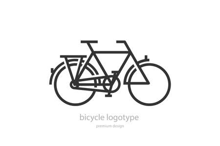 Bicycle. Bike logo. Black and white illustration on white background.