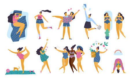Happy body positive girls with healthy lifestyle doing yoga, sport, love and fun. Attractive plus size woman. Vector illustration 向量圖像