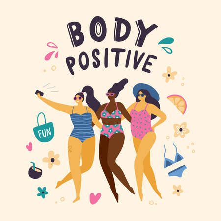 Happy body positive girls dressed in swimsuits making selfie. Attractive plus size woman. Vector illustration