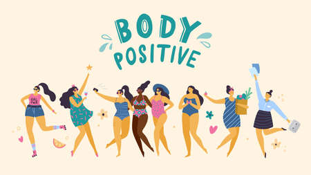 Happy plus size girls in different pose: sport, party, love, health care and work. Attractive body positive woman. Vector illustration