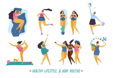 Happy body positive girls with healthy lifestyle in different pose: sleep, sport, love, work, yoga, party and health care. Attractive plus size woman. Vector illustration