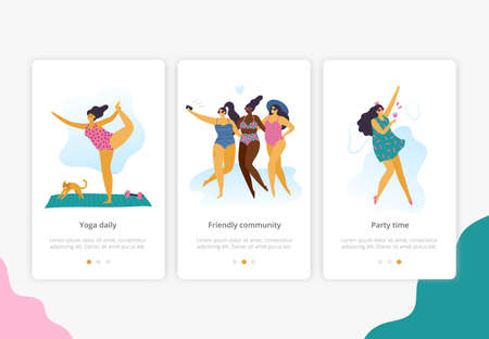 Happy plus size girls with healthy lifestyle in different pose: yoga, fun and party. Attractive body positive women can use for banner, site or landing page. Vector illustration.