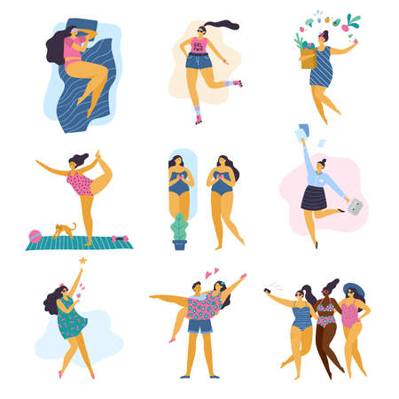Happy body positive girls with healthy lifestyle in different pose: sleep, sport, love, work, yoga, party and health care. Attractive plus size women. Vector illustration