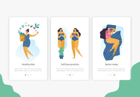 Body positive girls with healthy lifestyle for site, landing page or banner. Attractive plus size women. Vector illustration