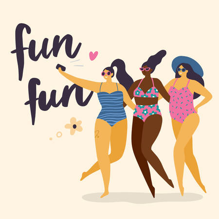 Body positive girls with healthy lifestyle making selfie. Attractive and fun plus size women. Vector illustration can use for print, site, landing page or banner.