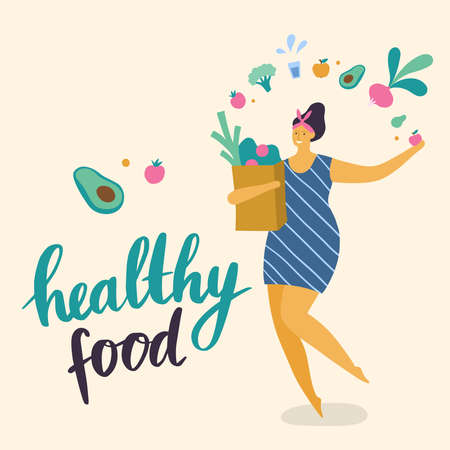 Body positive girl with healthy lifestyle shopping. Attractive plus size woman. Vector illustration can use for print, site, landing page or banner.