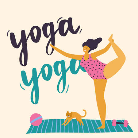Body positive girl doing yoga. Plus size woman with healthy lifestyle. Vector illustration can use for print, site, landing page or banner.