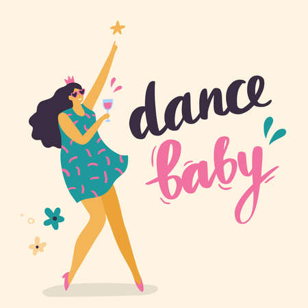Body positive girl dancing. Attractive plus size woman with a glass of wine. Vector illustration can use for print, site, landing page or banner. 向量圖像