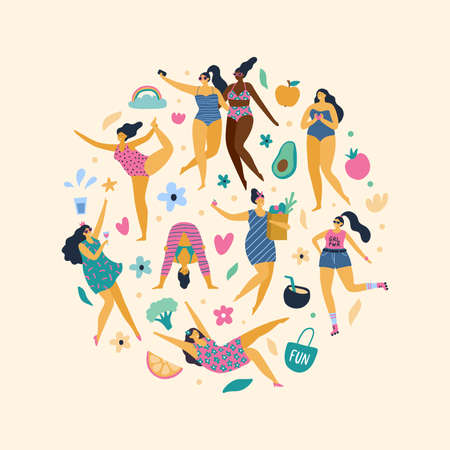 Happy plus size girls enjoy life. Attractive body positive woman doing yoga, sport, fun, love and other. Vector illustration. 向量圖像