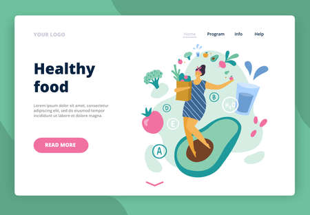 Happy body positive girl with healthy lifestyle. Attractive plus size woman enjoy life. Vector illustration for landing page, site or banner.