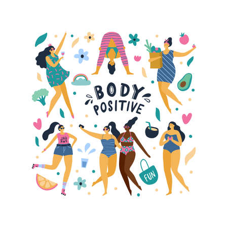 Happy body positive girls enjoy life. Attractive plus size woman doing yoga, fun, love, drinking wine, eat health foo and other. Vector illustration.