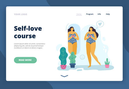 Happy body positive girl looks in the mirror. Attractive plus size woman enjoying life. Vector illustration for landing page, site or banner.